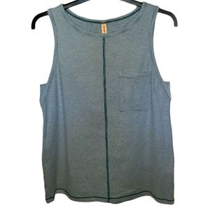 Lucy Striped Pocket Front Athletic Tank Top Small